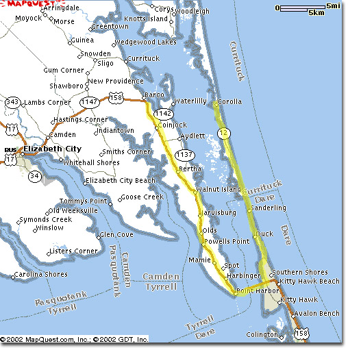 Outer Banks Map The Outer Banks North Carolina Maps The